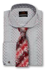 Dress Shirt Steven Land Spread collar Angled French Cuff- Gray -TA1735-GR