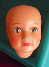 """Vintage 1930s France 5 3 Celluloid Girl Character Doll Head 2 3/4"""" Tall"""