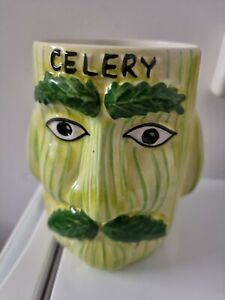 Vintage Price Kensington Double Faced Celery Man PotVase Jar