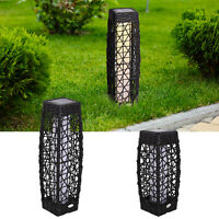 Rattan LED Solar Power Lamp Automatic Garden Patio Outdoor Balcony