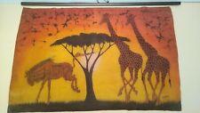 Vintage African batik wall hanging of an African savanna, Giraffe and Wildebeest