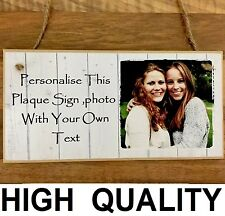 "Personalised Wooden Photo Plaque Sign 8x4"" Friend Family Baby Mother's day Gift"