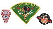 Lot of 3 Large Chanco Lodge 483 patch Acorn 463 Kecoughtan Lodge 463 arrow
