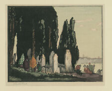 An original color woodblock print by Japanese artist Urushibara, Yoshijiro