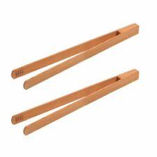 2er Set Holz Grillzange Küchenzange Salatzange Anti-Pasti-Zange aus Kirschholz