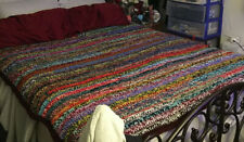 Hand Made Crochet Afghan - Multi color, Queen Topper Or Full Bedspread, NEW