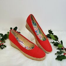 Vtg 70s Browsabouts Womens 8.5 Red Wedge Heel Espadrilles By Oomphies Usa
