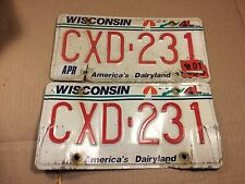 Pair of Wisconsin License Plates CXD-231 Vintage 2001 matched set