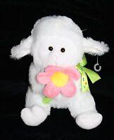 "Anico Intl EASTER LAMB 9"" Soft Toy Flower Daisy Stuffed Animal  Plush White Pink"