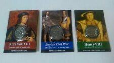 Set di 3 MONETE riproduzione-Richard 111, Oliver Cromwell e Henry MONETE V111