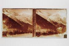 Chamonix Les Alpes Mont-Blanc Photo L5 Plaque de verre Stereo Vintage
