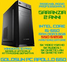 COMPUTER ASSEMBLATO PC FISSO DESKTOP INTEL Core i5-650 RAM 8GB SSD512GB DVD-RW