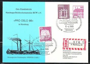 "Germany 1986 post card Norwegian Steamer ""Prinds Carl"" Pro Oslo'86.High Franking"