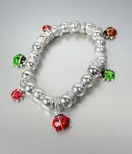 liebenswert Multi Emaille Marienkäfer Charm silberne Perlen klein Stretcharmband