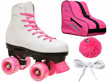 Epic Princess Pink Indoor/Outdoor Quad Roller Skates Bag & Pom Pom Bundle