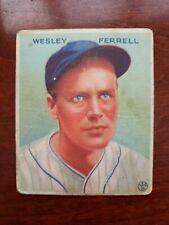 1933 Goudey #218 Wesley Ferrell - Cleveland Indians