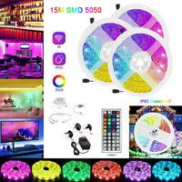 15M 10M 5M LED Strip Light SMD 5050 3528 RGB+44 Key Remote+12V Power Adapter Set