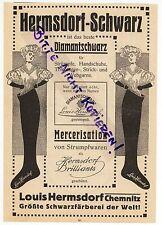 Chemnitz, advertising 1913, Louis Hermsdorf Black-dyeing Diamond Black Stockings