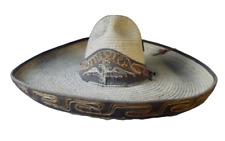 Ancien grand Chapeau de Femme paille souvenir du Mexique Aigle vintage 1970