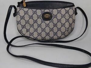 VTG GUCCI GG ACCESSORY COLLECTION MONOGRAM CROSSBODY BAG BLUE MADE IN ITALY
