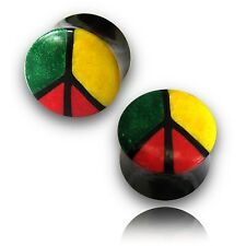 PAIR 6G CRUSHED BONE PEACE SIGN & HORN PLUGS 4MM PLUG RASTA COLORS