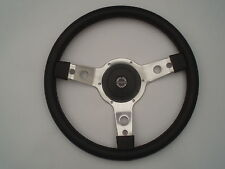 "TRIUMPH TR6 MOUNTNEY SPRINGALEX 14""  SEMI DISHED LEATHER STEERING WHEEL"