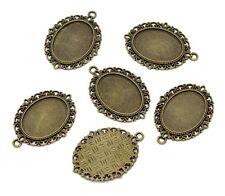 5 pcs Bronze Jewelry Cameo Settings Bronze Tone Oval Frame 39x29mm