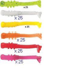 25 leurres souples Tiny Worm  drop shot perche 3,5cm hot pink/rose pêche finesse