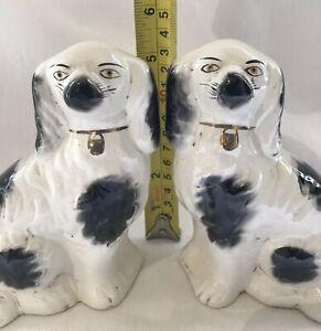 Vintage Pair of Small Staffordshire Black & White Spaniel Flatback Wally Dogs