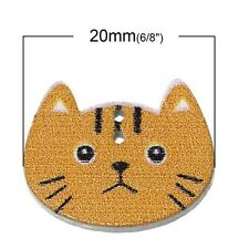 New Wood Sewing Button Scrapbooking Cute Cat Shaped Crafts 2Holes