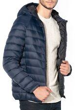 Jack & Jones Mens Quilt Puffer Jacket Padded Warm Hooded Outdoor Coat Blue Navy
