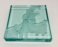 Disney Goofy Glass Etched LTD ED 312/1000 Signed Robert Guenther Paper Weight