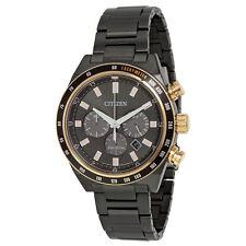 Citizen Eco-Drive Men's CA4207-53H Sport Chronograph Black Finish 42MM Watch NEW