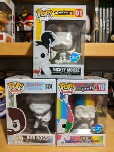 DIY Funko Pop Bundle, Bob Ross, Troll, Mickey Mouse