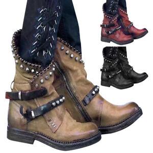 Women Winter Ankle Lace Up Biker Boots Block Heels Punk Rivet Combat Shoes Size