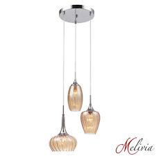 verre lampe suspendue Ambre 3x40w E14 Luminaire Suspensions Plafonnier