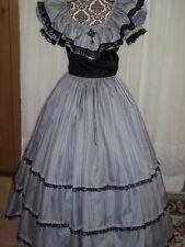 Victorian/Civil War Ball Gown, Gray with Black Stripe & Black Bridal Taffeta