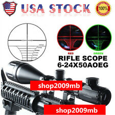 6-24x50 aoe Rifle Scope Red/Green Mil-dot Illuminated Optics Hunting US W/Mounts