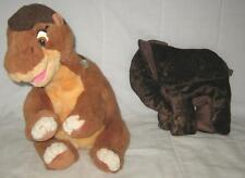 """LOT OF 2 VINTAGE GUND THE LAND BEFORE TIME 1988 PLUSH 17"""" & 12"""" BROWN ELEPHANT"""
