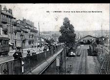 LIMOGES (87) TRAMWAY & TRAIN en GARE animée en 1908