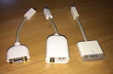 3 Apple Mini-DVI adapter cables: VGA, S-Video + DVI for Macbook Mac Mini, Xserve