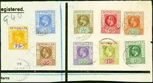 Seychelles 1912-13 Set of 9 to 75c SG71-79 on Part Reg Cover/Large Piece to G...
