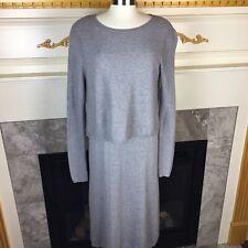 ASOS Womens 6 Gray Ribbed Long Sleeve Layered Draped Keyhole Knit Sweater Dress