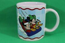 Walt Disney Hang On Pluto Mickey Minnie Mouse Snow Sled Coffee Cup Mug