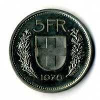 Moneda Suiza 1978 5 francos suizos coin Helvetia