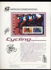 #3119 Cycling Souvenir Sheet  USPS #503 Commemorative Stamp Panel