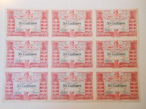 88 Vosges Saint-Dié-des-Vosges PLANCHE de 9 x 50 centimes 1-4-1920