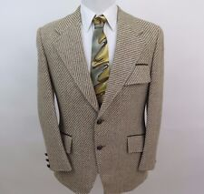 22be77d082f5c Vintage Norman Hilton Tweed Elbow Patches Striped Blazer Jacket Sport Coat  40 R