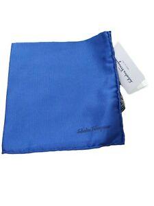 Salvatore Ferragamo Royal Blue Silk Pocket Square BNWTIB RRP£95