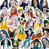 Singer Billie Eilish Stickers 50PCS for Laptop Skateboard Luggage Decal Graffiti